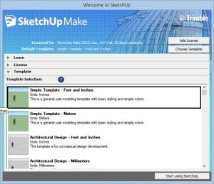 sketch up start menu